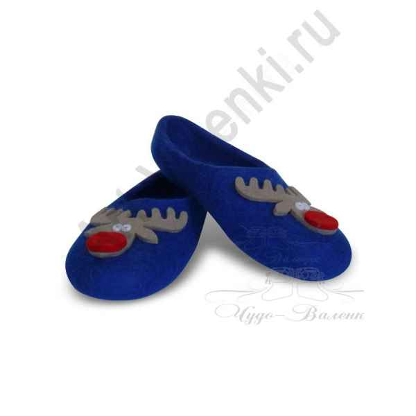 Тапочки ручной валки синие с оленями