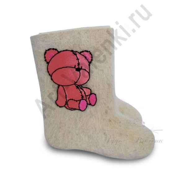 """Валенки детские ручной валки белые """"Розовый мишка-2""""с 14 по 19р."""