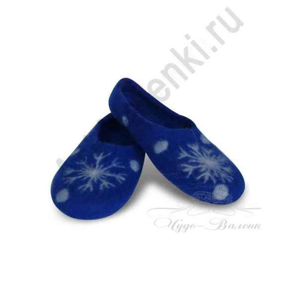 Тапочки синие с снежинками
