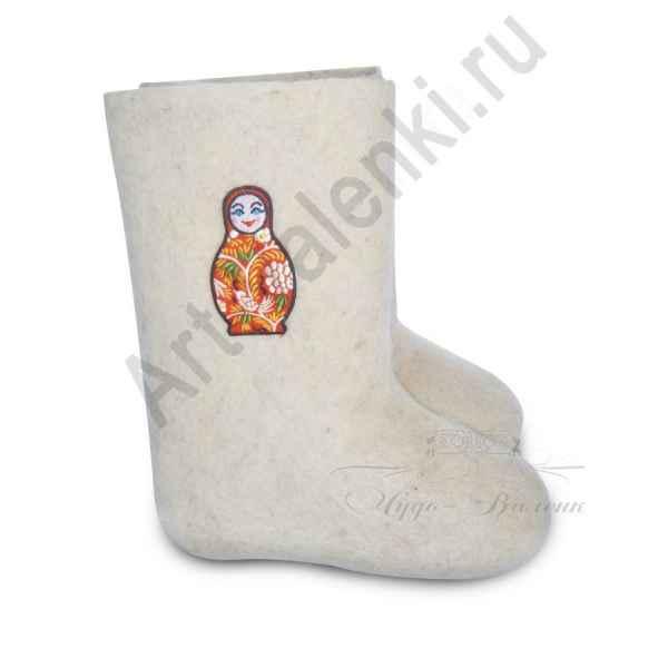 """Валенки ручной валки белые""""Матрешка-3""""с 20 по 22р."""