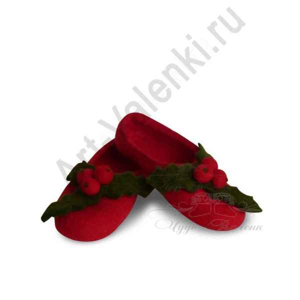 Тапочки красные с ягодами с подошвой