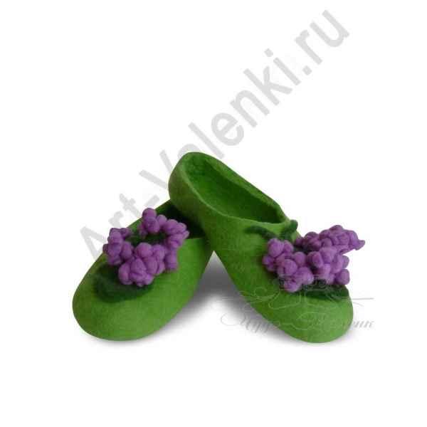 Тапочки зеленые с сиренью