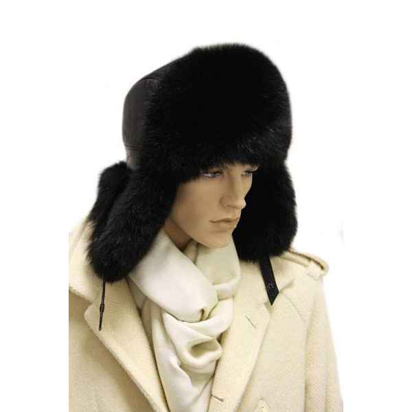 Мужская шапка- ушанка с черным песцом