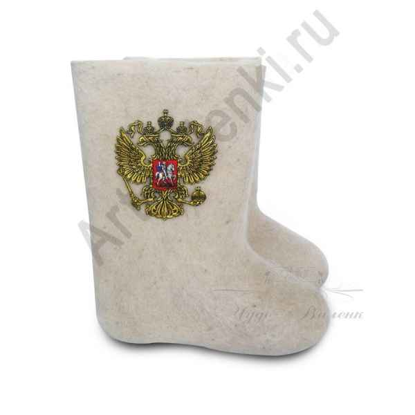"Валенки ручной валки белые""Герб-4""с 23 по 24 р."