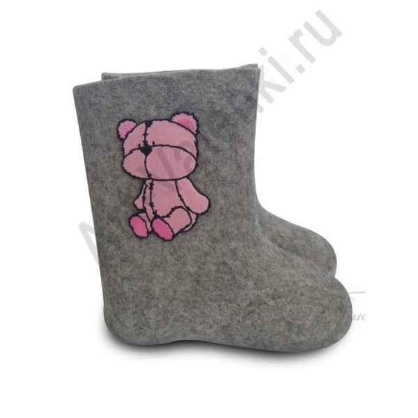 """Валенки детские ручной валки серые """"Розовый мишка-1""""с 14 по 19р."""
