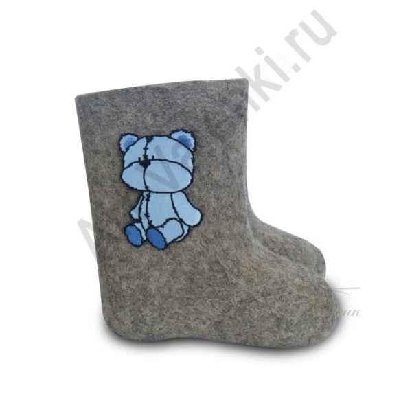 """Валенки детские ручной валки """"Голубой мишка-3""""с 13 по 19р"""