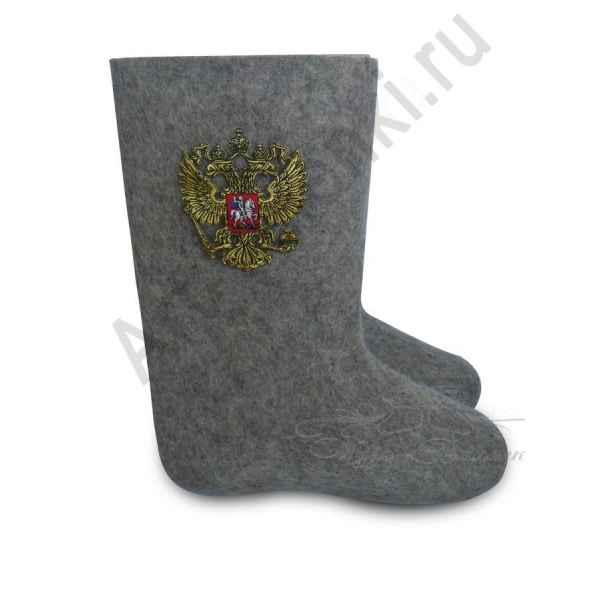 """Валенки ручной валки серые """"Герб России"""""""