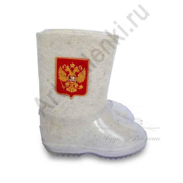 "Валенки ручной валки белые""Герб-2""с 14 по 19р."