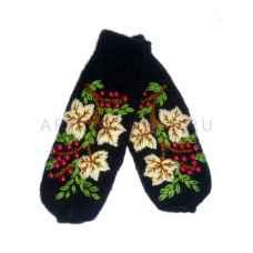Дизайнерские варежки ручной вязки с вышивкой24-1