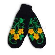 Дизайнерские варежки ручной вязки с вышивкой 43