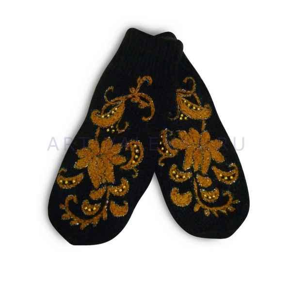 Дизайнерские варежки ручной вязки с вышивкой арт.2597