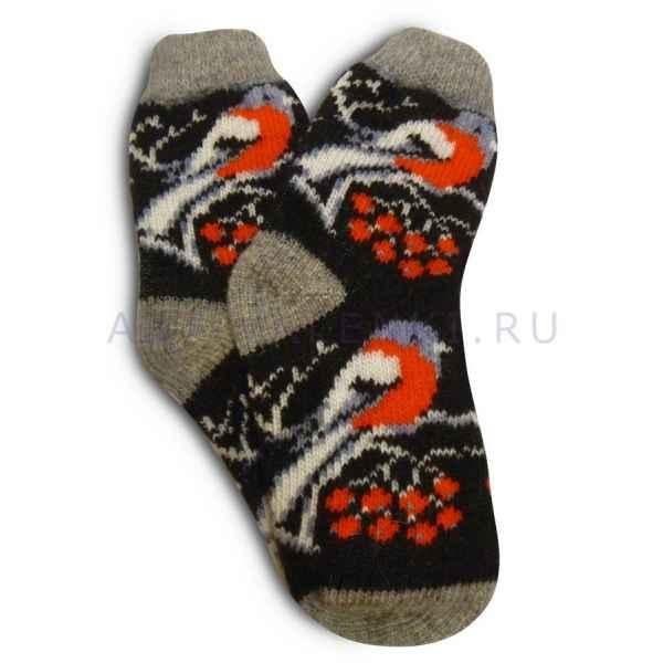 """Шерстяные носки """"Снегири, черн."""" Шерсть 100% (Россия) арт. 2629"""