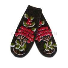 Дизайнерские варежки ручной вязки с вышивкой арт.749