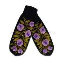 Дизайнерские варежки ручной вязки с вышивкой14