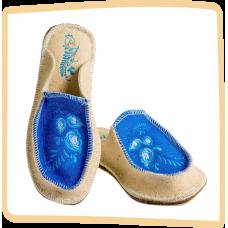 """Тапочки женские из войлока """"Гжель"""" на широкую ногу на легкой не скользящей резиновой подошве с 36 по 41р."""