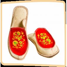 """Тапочки женские из войлока """"Хохлома"""" на широкую ногу на легкой не скользящей резиновой подошве с 36 по 41р."""