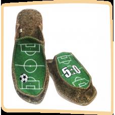 """Тапочки мужские из войлока """"Футбол"""" на широкую ногу на легкой не скользящей резиновой подошве с 40 по 46р"""