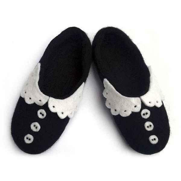 """Тапочки черные """"Воротнички"""" с подошвой"""
