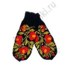 Дизайнерские варежки ручной вязки с вышивкой арт.348