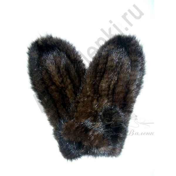 Варежки коричневые из натуральной вязанной норки