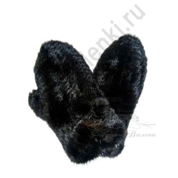 Варежки черные из натуральной вязанной норки