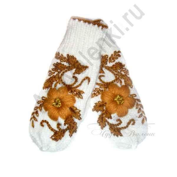 Дизайнерские варежки ручной вязки с вышивкой арт.771