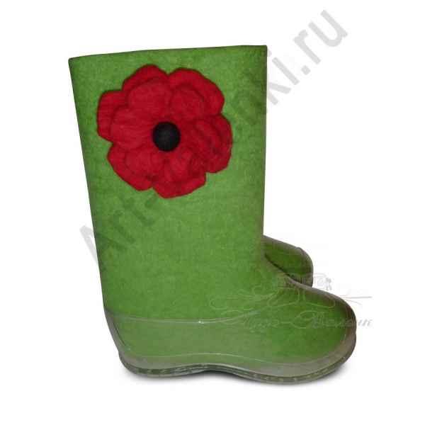 """Валенки зеленые с цветком""""премиум-класса"""""""