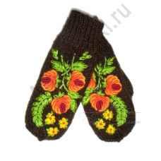 Дизайнерские варежки ручной вязки с вышивкой 51