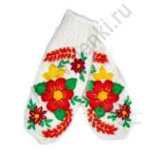 Дизайнерские варежки ручной вязки с вышивкой 52