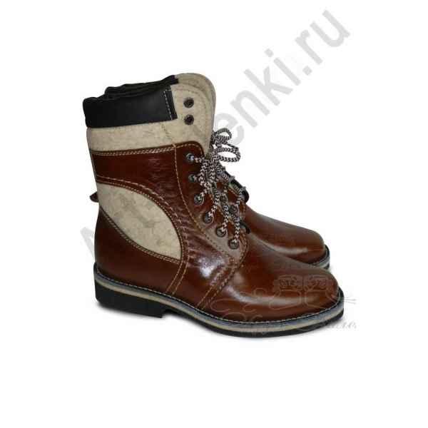 """Ботинки из войлока """"Элит"""" с светлой кожей"""