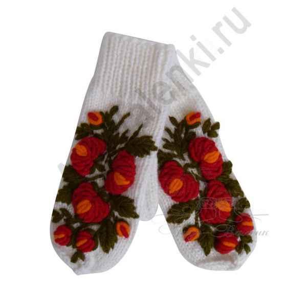Дизайнерские варежки ручной вязки с вышивкой арт.831