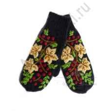Дизайнерские варежки ручной вязки с вышивкой24