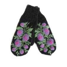 Дизайнерские варежки ручной вязки с вышивкой10