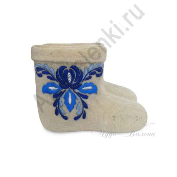 """Валенки короткие с вышивкой премиум-класса """"Гжель"""" арт.2438"""