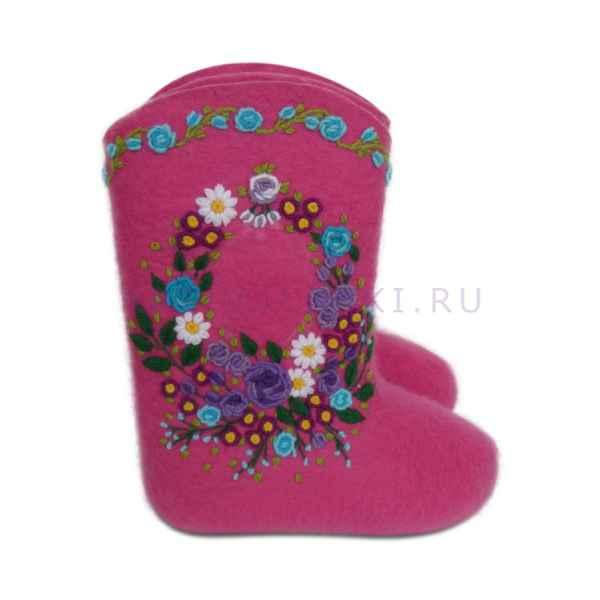 """Валенки с вышивкой премиум-класса """"Цветочная корзиночка"""", 25 см (внутри)"""