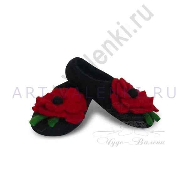 """Тапочки черные """"Маки"""" с усиленной подошвой"""