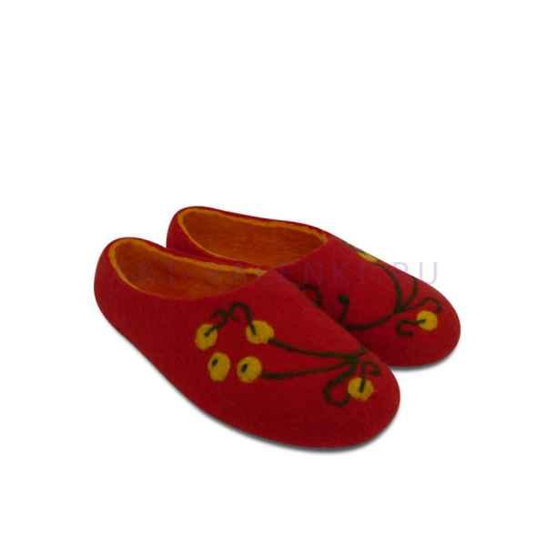 Тапочки красные с рябинкой арт. 210