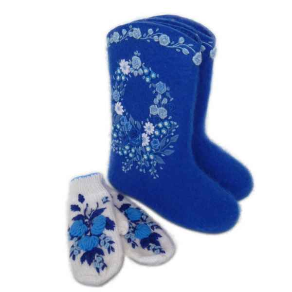 """Валенки синие с вышивкой премиум-класса """"Корзинка с цветами"""", 25см внутри (39-40р) арт.2526"""