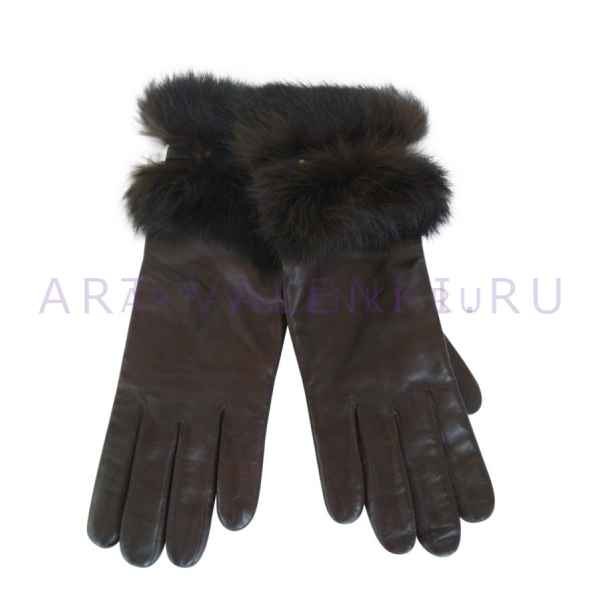 Перчатки кожаные жен. коричневые арт.3322