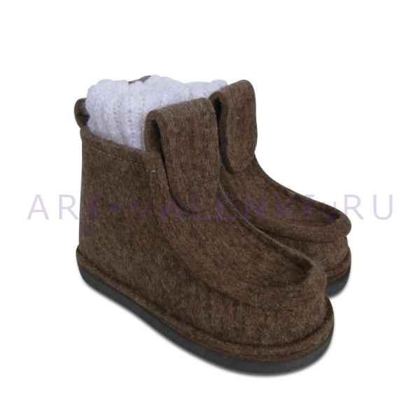 Валеши из серо-коричневого войлока с носками арт.3402