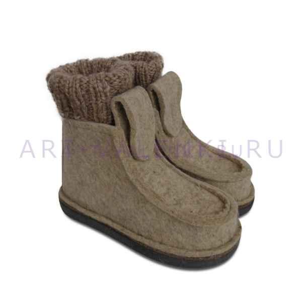 Валеши из светло-серого войлока с носками арт.3483