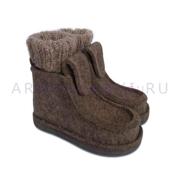 Валеши из серо-коричневого войлока с носками арт.3484