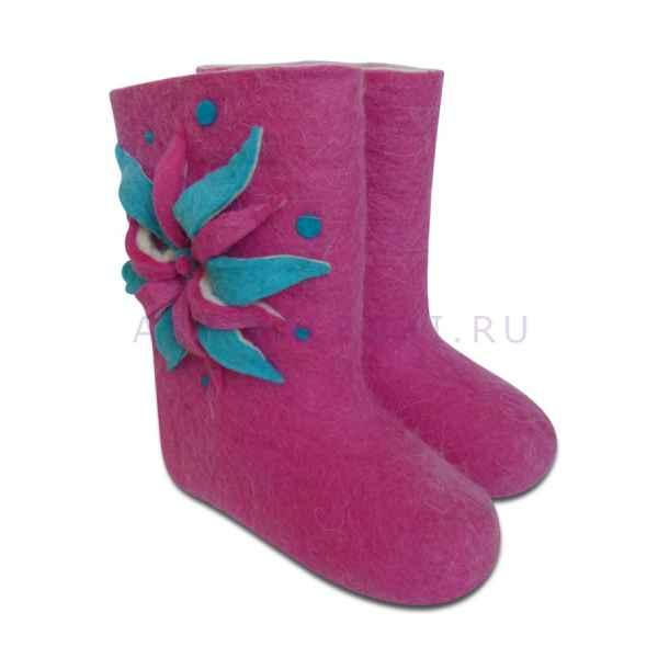 """Дизайнерские валенки """"Лилия"""", розовые, на длину стопы 19 см"""