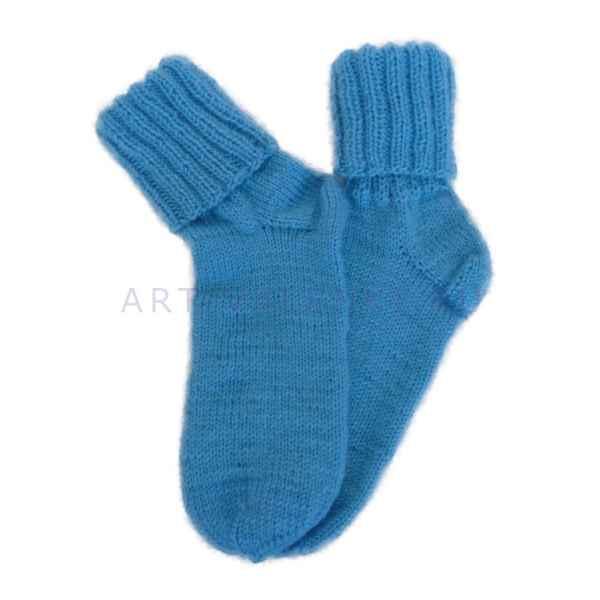 Шерстяные носки ручной вязки бирюзового цвета арт.1377