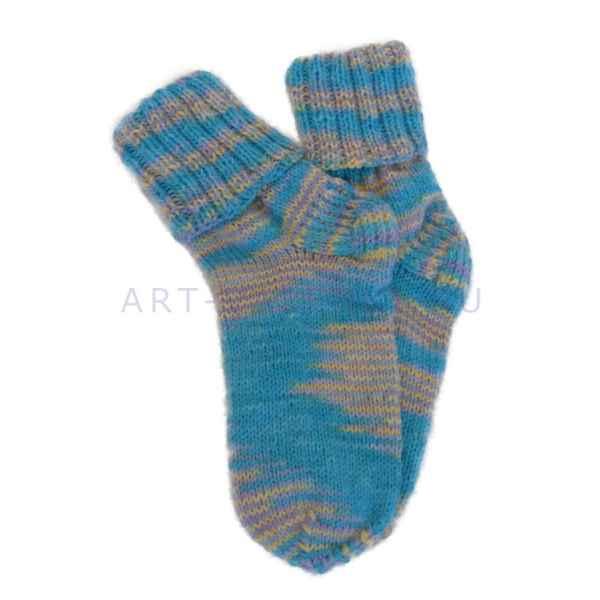 Шерстяные носки ручной вязки из меланжевой пряжи арт.303