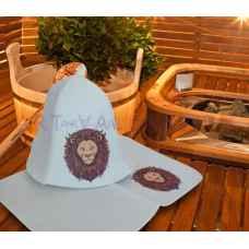 """Комплект для бани и сауны """"Лев""""коврик 42 х 32 см, шапка до 62 р. войлок"""
