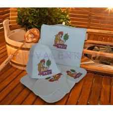 """Комплект для бани """"Хозяйка бани"""" из 5-ти предметов: коврик, шапка, варежка, портфель, мочалка из войлока"""