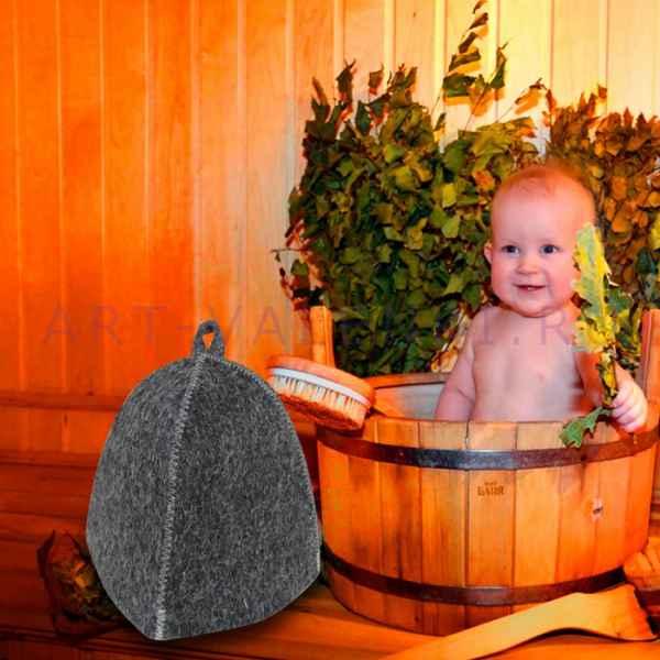 """Шапка детская для бани и сауны""""Серая"""" до 56 размера, войлок"""