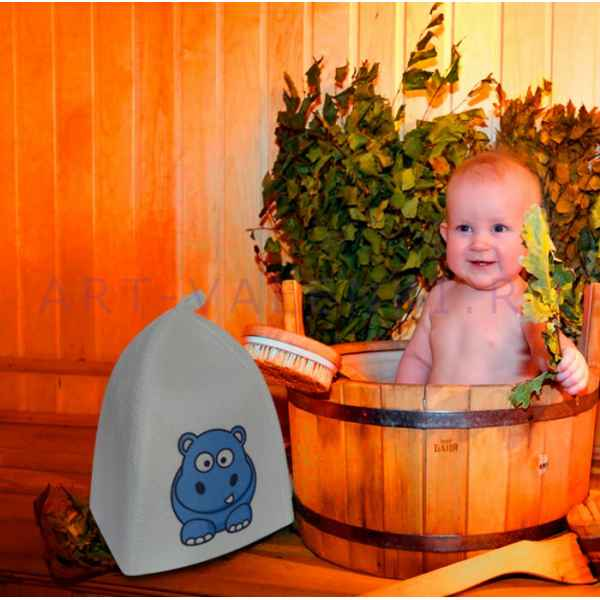 """Шапка детская для бани и сауны""""Бегемотик"""" до 56 размера, войлок"""