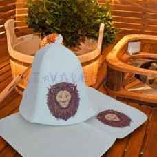 """Набор для бани и сауны """"Лев""""коврик 42 х 32 см, шапка до 62 р. войлок"""